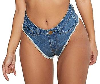 Oflive Women s Sexy High Waisted Stretch Mini Denim Shorts Hot Pants Clubwear Dark Blue Small