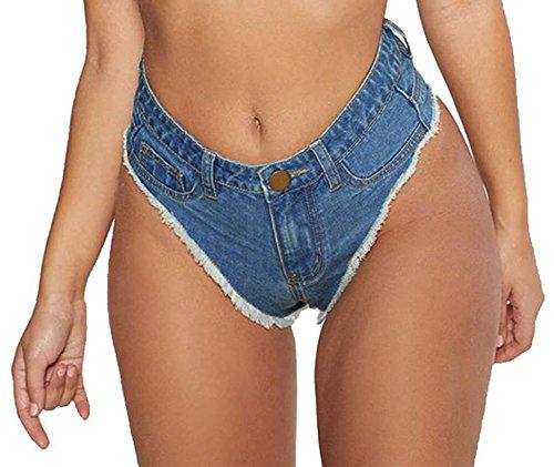 Oflive Women's Sexy High Waisted Stretch Mini Denim Shorts Hot Pants Clubwear, Dark Blue, Large