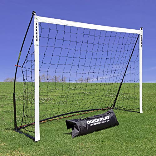 QUICKPLAY Kickster Academy Football Goal 6x4' – Ultra Portable Football Equipment includes Football Net and Carry Bag [Single Goal]