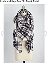 Modcloth Blanket Scarf Black Plaid 55x55