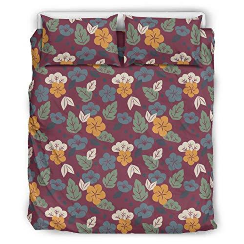 O2ECH-8 Tagesdecke Bettwäsche Set Retro 3-teilig Bettbezüge - Green Comfortable Boho Bettwäschesets Übergröße Queen White 229x229cm