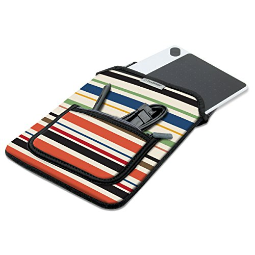 Neoprene Protective Sleeve Case for Wacom Drawing Pen Pads and 10' Tablets by USA Gear – w/Zipper Pocket & Carrying Handle – Fits Intuos Draw, Art, Photo, 3D, Comic, Bamboo, Pen and Touch (Striped)