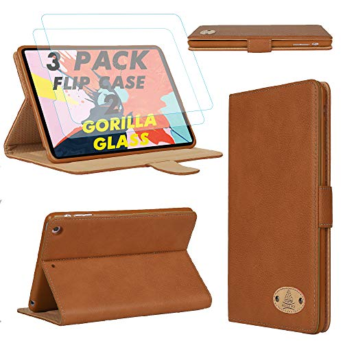 Gorilla Tech iPad Pro 12.9 2nd and 1st Generation Leather Case and 2 Screen Protector Magnetic Flip Stand Shockproof cover Protective 2-Pack Brown iPad Model A1670 A1671 A1584 A1652
