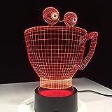 Cartoon Tasse 3D LED leuchtet neuartige visuelle dekorative Tischlampe mit 7 Farben LED Tischlampe als Geschenk für schöne Kinder zu ändern