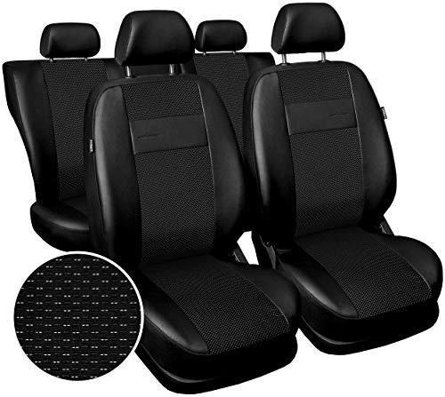 Carpendo Sitzbezüge Auto Set Autositzbezüge Schonbezüge Vordersitze und Rücksitze mit Airbag System Schwarz - Exclusive E1