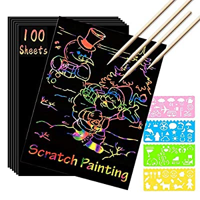 Scratch Paper Art Set, 100 Sheets Rainbow Magic Scratch Art Black Scratch it Off Paper Crafts Notes Drawing Boards Sheet with 10 Wooden Stylus and 4 Stencils for Kids DIY Christmas Birthday Gift Card by SK-SA100