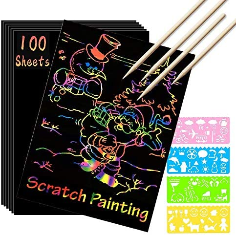 Scratch Paper Art Set 100 Sheets Rainbow Magic Scratch Art Black Scratch it Off Paper Crafts product image