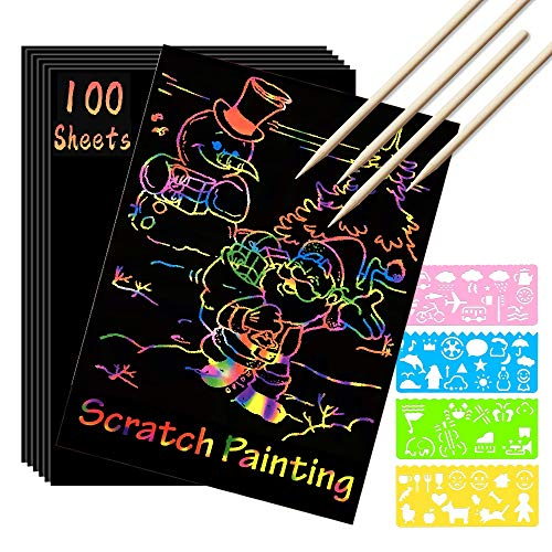 Scratch Paper Art Set 100 Sheets Rainbow Magic Scratch Art Black Scratch it Off Paper Crafts Notes Drawing Boards Sheet with 10 Wooden Stylus and 4 Stencils for Kids DIY Christmas Birthday Gift Card