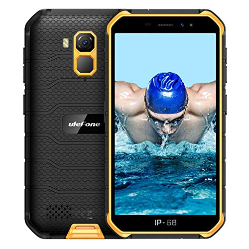 Ulefone Armor X7 Pro - Teléfono móvil Android 10, Quad-Core 4 GB + 32 GB, IP68, resistente 13 MP, cámara subacuática, batería de 4000 mAh, NFC/Dual SIM, desbloqueo facial, color naranja