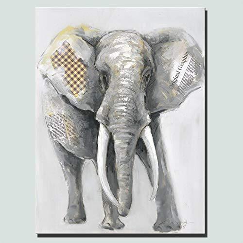 LWJZQT Große Abstrakte Elefanten Leinwand Gemälde Hellgraue Farbe Moderne Tiere Kunst Leinwand Wandkunst Gemälde Für Wohnkultur 70×100cm