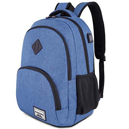 Laptop Rucksack Business Oxford Rucksack für 15.6 Zoll 20-35L mit USB-Ladeanschluss Schulrucksack für Arbeit Wandern Reisen Camping,für Herren (B6-Blue)