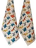 JOWOLLINA 2er-Set: Geschirrtücher Küchenhandtücher Handtücher Tücher Hund blau 47x70 cm...