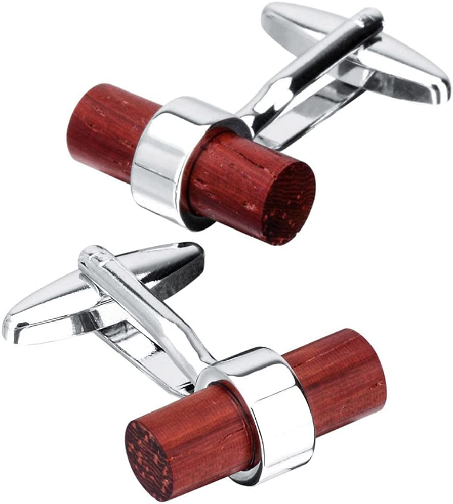 BO LAI DE Men's Cufflinks Solid Wood Red Sandalwood Cylindrical Cuff Links Suitable for Business Events, Meetings, Dances, Weddings, Tuxedos, Formal Wear, Shirts, with Gift Boxes