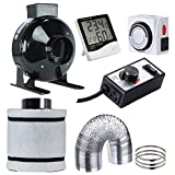 Hydro Plus 4' Air Carbon Filter Combo Inline Fan+Ducting+Timer+Hygrometer Thermometer+Fan Speed Controller for Indoor Plants Growing System