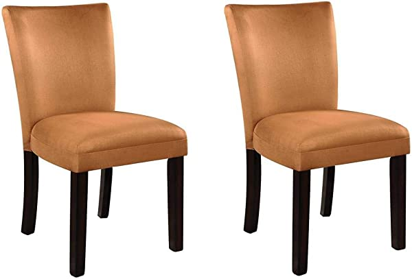 Bloomfield Microfiber Parson Side Chairs Cappuccino And Gold Set Of 2