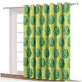 Cortina de alcachofa para ventana con alcachofas orgánicas saludables, verdes, veganas, vegetarianas, ojales decorativos, paneles impresos, panel individual de 254 x 213 cm, para puerta corredera verde manzana y helecho