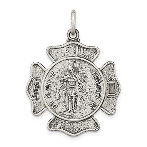 925 Sterling Silver Saint Florian Badge Medal Pendant Charm Necklace Religious Patron St Fine Jewelry For Women Gifts For Her