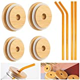 """Set of 8 Bamboo Mason Jar Lids and Glass Straws- 2.7"""" and 3.4"""" Reusable Mason Cup Tops with Straw Hole Bronze Glass Straws in Straight and Curved Shapes Suitable for Regular & Wide Mouth Mason Jars"""