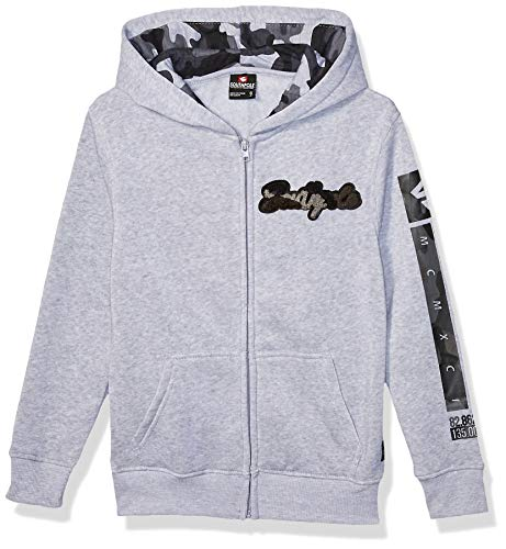 Southpole Jungen Fleece Hooded Fullzip Kapuzenpulli, Heather Grey Camouflage Patch, X-Large