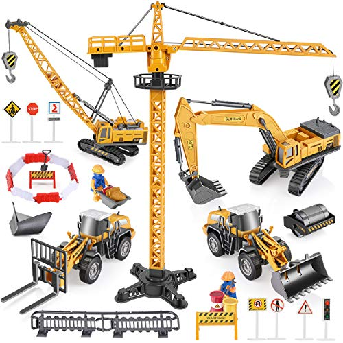 Geyiie Construction Truck Vehicles Toy Kids, Engineering Toys Trucks, Digger, Excavator Crane Forklift Snow Plow Steamroller Outdoor Indoor Sand Toys for Age 3 4 5 Boys Toddler Party Favor Gifts