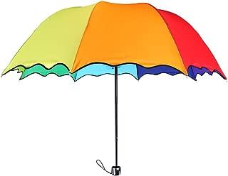 8 Colors Rainbow Umbrella - Portable Tri-Folded Umbrella - for Rainy and Sunny Days