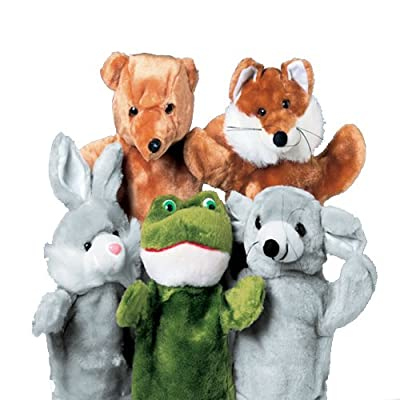 """Constructive Playthings Forest Friends 10"""" H. Plush Puppet Set of 5 Including Bear, Fox, Bunny, Frog and Moose Appropriate for All Ages by US Toy & Constuctive Playthings"""