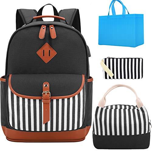 Tela Zaino Scuola Ragazza Donna Zainetto Vintage Canvas Backpack Casual Daypacks per 15.6in Laptop, USB Charging Port (Strisce verticali)