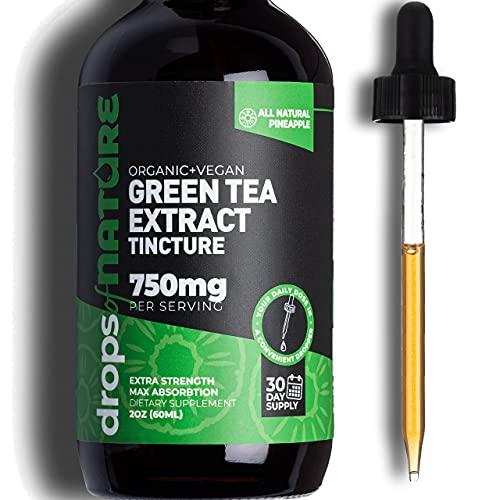 Green Tea Extract Liquid Drops, 2 fl. oz. Antioxidant & Immune Supplement - Vegan Skin & Heart Support + Brain Health & Memory Boost