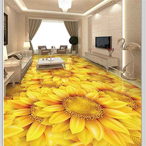 Decoração De Piso Personalizada Pintura 3D Sol Flor Girassol Planta Flor 3D Piso Autoadesivo Azulejos Mural Papel De Parede,250(W)*175(H)Cm