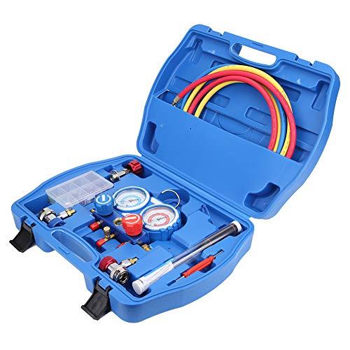 Cocoarm R134A Kältemaschine A/C Kältemittel Klimaanlage Diagnostik Manifold Gauge Werkzeuge Set mit Schlauch und 1/4 SAE-Anschluss für R12/R22/R410A/R404A
