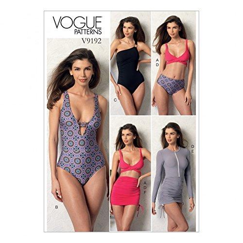 Vogue Damen Schnittmuster 9192 Wickeltop Bikini, Einteiler Badeanzüge & Cover Ups