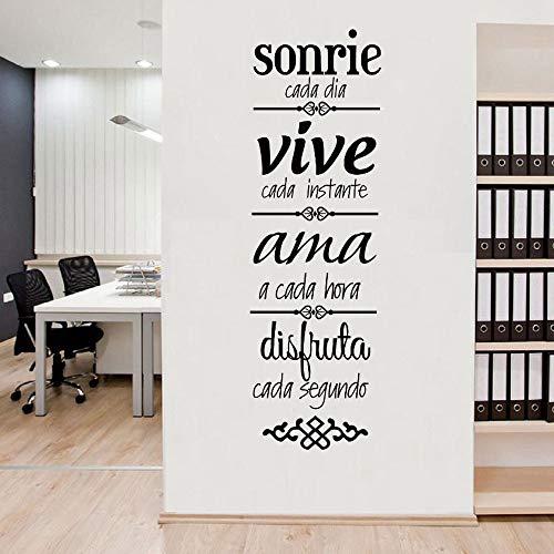 Frase en español Sonrisa Disfrute de la vida Amor Citas inspiradoras Reglas de la casa Etiqueta de la pared Vinilo Arte Calcomanía Dormitorio Sala de estar Oficina Estudio Club Decoración para el