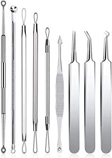 Comedone Acne Blackhead Extractor Tool 9PCS Stainless Steel Pimple Remover Clip Kit Curved Tweezer Treatment