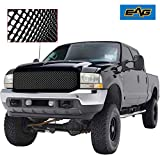 EAG Replacement Grille Mesh Front Black ABS Upper Grill Fit for 99-04 F250/F350/F450 Super Duty