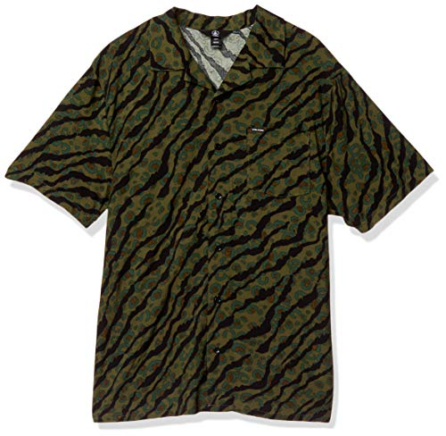 Volcom Herren Embertone S/S Woven Button Down Hemd, Army Green Combo, Groß