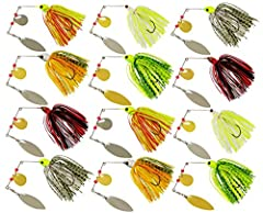 Each spinnerbait weight about 0.64oz. Package include: 6pcs spinnerbaits, six different colors. The spinnerbait has realistic hand-painted head with flared gill plates, a heavy weed guard to help come through cover easier. Copper willow double-blade ...