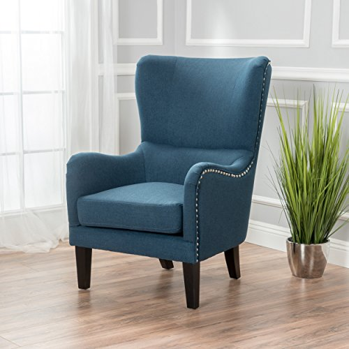 Christopher Knight Home Sheffield Dark Blue Fabric Hi-Back Studded Chair