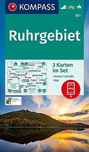 KOMPASS Wanderkarte Ruhrgebiet: 3 Wanderkarten 1:50000 im Set inklusive Karte zur offline Verwendung in der KOMPASS-App. Fahrradfahren. Reiten. (KOMPASS-Wanderkarten, Band 821)