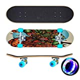 vector illustration of armored japanese ronin warrior and tiger Skateboard Colorful Flashing Wheels Extreme Sports&Outdoors 31''Cruiser Complete Standard Longboard Beginners Kids Cool Boys Teen