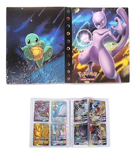 Album for Pokemon GX Mega Cards, Trading Cards Holder Binder, Collectible Card Album, Floder Binder for Pokemon Cards, 30 Pages–Can Hold 240 Cards (Back-to-Back) (Mewtwo)