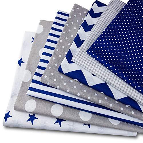 Baumwollstoff meterware Stoffpaket 7 Stück je 50x80cm - Stoffe zum Nähen patchwork stoff paket Stoffreste nähstoffe Baumwolle Öko-Tex weiß-grau-blau