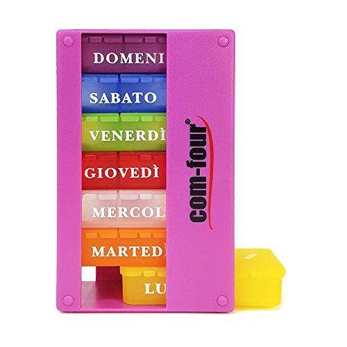 com-four 1x Dispenser medicamenti in Italiano - Box medicamento per 7 Giorni - 3 Scomparti ciascuno - Box portapillole - portapillole - Box Tablet - Dispenser settimanale [Italian] (Viola)