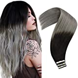 Human Hair Tape in Extensions Grey Ombre Black to Gray Tape in Hair Extensions Human Hair Soft and Silky Hair Tape in Ombre Hair Extensions For Fasion 14inch 20pcs 50g