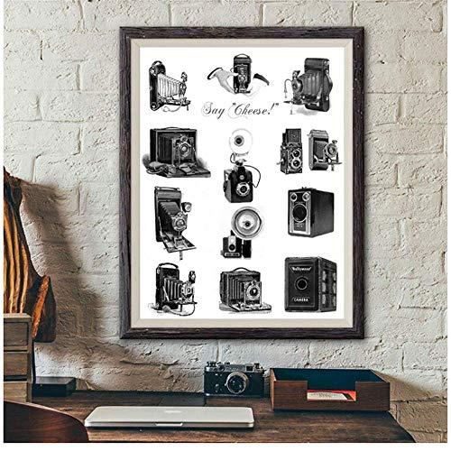YaShengZhuangShi Pintura de la Lona Cámaras Antiguas Ilustración Cartel Fotografía Amantes Regalo Cámaras Vintage Imagen del Arte Decoración de la Pared del hogar 60x90cm Sin Marco