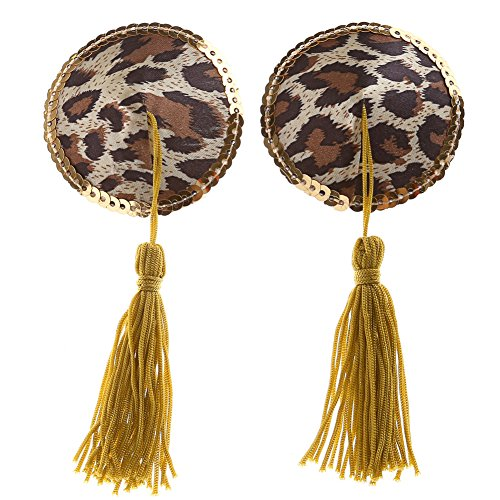 Ayliss Womens Round Leopard Gilt-edged Tassel Pasties Breast Petals