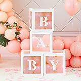OurWarm Baby Shower Boxen Partydekorationen, 4 Stück große transparente Luftballons Boxen mit Baby Brief Baby Shower Blocks für Jungen Mädchen Birthday Party Supplies