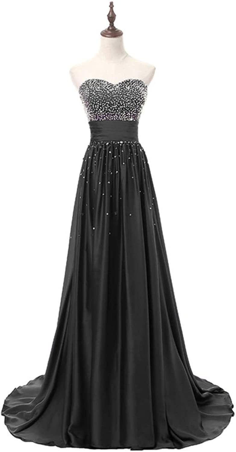 LiBridal Women's Sweetheart Beaded Prom Bridesmaid Strapless Evening Party Dresses Long 2018