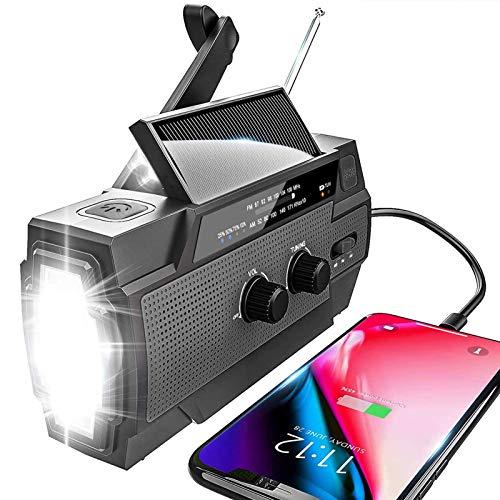 YIKANWEN Radio solar AM/FM con manivela portátil, USB, batería recargable de 4000 mAh y manivela dinamo para camping, viajes (negro)