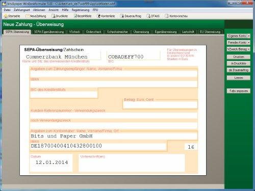bits&paper BP0014 WinBankformular 5.1 Software (Software für Bankformular-Management) - auch für SEPA Überweisungen, SEPA Verrechnungsschecks und weiter SEPA - Bankformulare