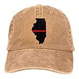 Cap Bandera De EE. UU. Bandera Delgada De Línea Roja Mapa De Illinois Sombrero De Papá A Prueba De Viento Ajustable Sombrero De Vaquero Denim Ajustable Hip Hop Deportes Al Aire Lib